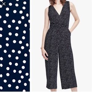 Ann Taylor sleeveless polka dot jumpsuit w pockets